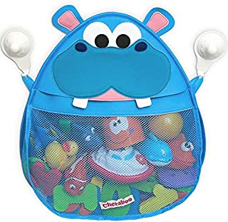 Cheraboo Baby Bath Toy Organizer for Tub- Hurley Hippo Mesh Bath Toy Holder with Two Suction Cups Keep Toddler and Baby Toys Organized and Dry