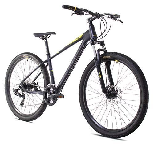 breluxx® 27,5 Zoll Mountainbike Aluminium EXID Sport 2D, Scheibenbremsen - schwarz gelb matt, 21 Gang Shimano - Modell 2020, Made in EU