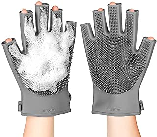 2 Pack Silicone Body Scrubber Cleansing Gloves,Soft Cleaning Bath Body Brush for Women, Body Brush Exfoliating Gloves for Men & Skin Care Tool for Shower (Gray)