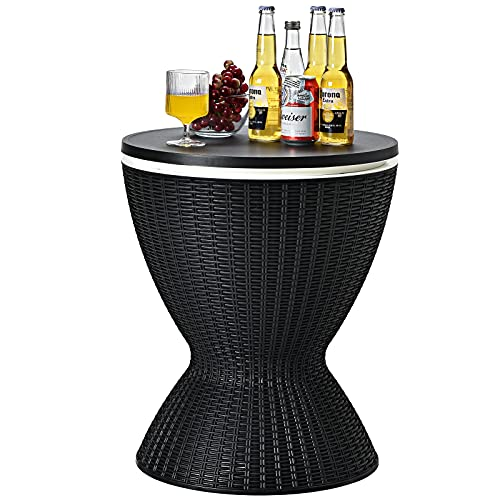 CASART 30L Rattan Effect Ice Bucket, Height Adjustable Bar Beer Cooler Table, Outdoor Coffee Cocktail Table Round Stool for Garden, Patio, Party, Deck and Pool (Black)