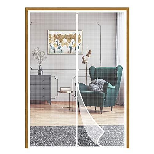 Yotache White Hanging Magnetic Screen Door Fits Door Size 48 x 80, Mosquito Door Screen Magnet Fit Doors Size Up to 48'W x 80'H for Entry Front Sliding Door