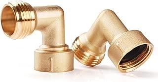 SnowyFox 90 Degree Brass Hose Elbow for RV Hose Fitting, 2Pcs