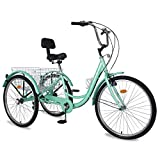 Adult Tricycles, 3 Wheel Bikes for Adults 20/24/26 inch 7 Speed Adult Trikes Bicycles Cruise Trike with Large Basket for Recreation, Shopping, Exercise Men's Women's Bike (Green, 24' Wheel/ 7 Speed)