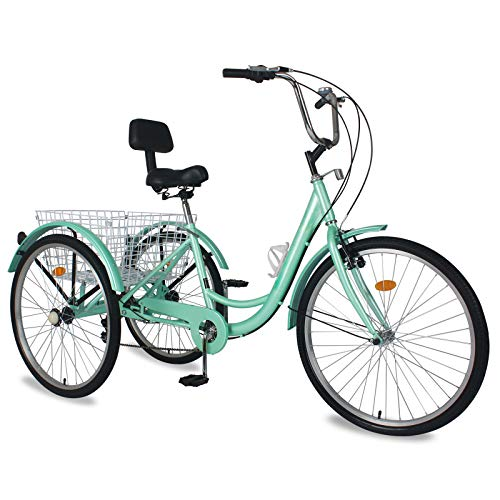 """Adult Tricycles, 3 Wheel Bikes for Adults 24 inch /26 inch 7 Speed Adult Trikes Bicycles Cruise Trike with Shopping Basket for Seniors, Women, Men (24"""" Wheels/7 Speed, Green)"""
