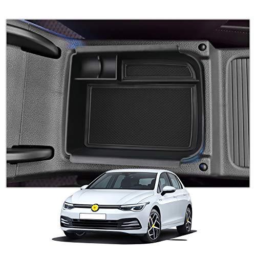 CDEFG Golf 8 Mittelkonsole Aufbewahrungsbox Armlehne Multifunktionaler Aufbewahrung Auto Center Console Organizer Tray Innenraum Zubehöraum Zubehör (Schwarz)