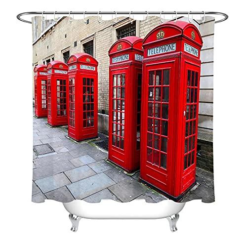 Cortina de Ducha Calle Cabina de teléfono roja Tela Impermeable Cortinas de Ducha de baño Resistente al Moho Lavable con Ganchos