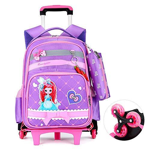 QWEIAS Mochila para niños Trolley Bag - Princess 3D Mochila Escolar para niñas - Mochila para niños Mochila con Ruedas con asa telescópica y Ruedas de 2/6 Purple- 6 Rounds