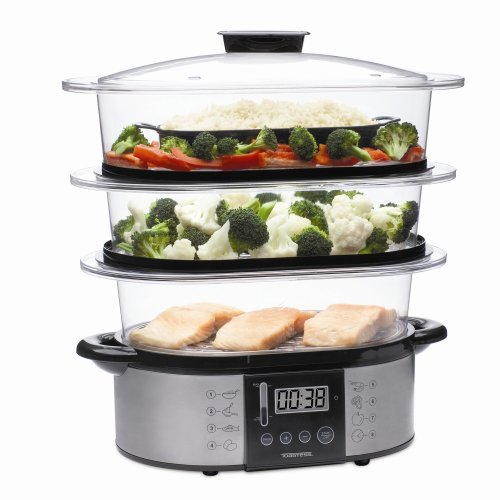 Toastess TVS-347 Silhouette Stainless-Steel Programmable Food Steamer and Rice Cooker