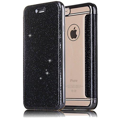 Preisvergleich Produktbild Sycode Transparent View Zurück Schutzhülle mit Glitzer Pu Leder Brieftasche für iPhone 6 4.7 / 6S 4.7 Zoll