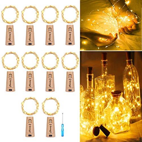 10 Stück 20LED 2M Flaschen Licht Warmweiß, Korken Licht Lichterkette warmweiss mit Batterie für Flasche DIY für außen/innen Deko für Party, garten, Hochzeit, Weihnachten [Energieklasse A+++]