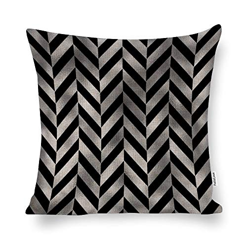 Promini Contemporary Black And Silver Herringbone Cotton Linen Blend Throw Pillow Covers Case Cushion Pillowcase with Hidden Zipper Closure for Sofa Bench Bed Home Decor 20'x20'