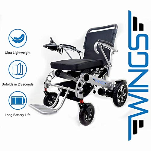 """Lightweight Folding Electric Wheelchair - Ultra Portable Foldable Power Motorized Scooter Chair - Extra Wide 19.6"""" Seat - Comfortable Cushion, Extremely Compact for Car and Air Travel - by Wings"""