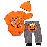 puseky Baby-Strampler für Neugeborene, Halloween, lange Ärmel, Kürbishose, Hüte, Halloween-Kostüme Gr. 6-12 Monate, Orange