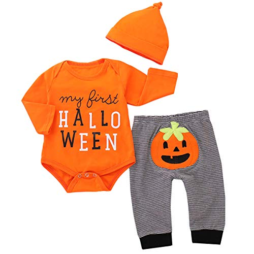 Tianhaik - Set di 3 pagliaccetti per neonato, con pagliaccetto + pantaloni + cappello, a tema zucca di Halloween Arancione. 6 mesi