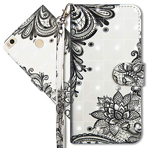 MRSTER Xiaomi Mi Max 2 Handytasche, Leder Schutzhülle Brieftasche Hülle Flip Hülle 3D Muster Cover mit Kartenfach Magnet Tasche Handyhüllen für Xiaomi Mi Max 2. YX 3D - Lace Flower