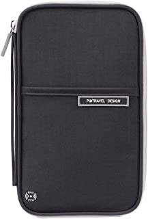 VRIKOO Travel Passport Holder Wallet RFID Blocking Credit Cards Tickets Document Organiser Case with Hand Strap