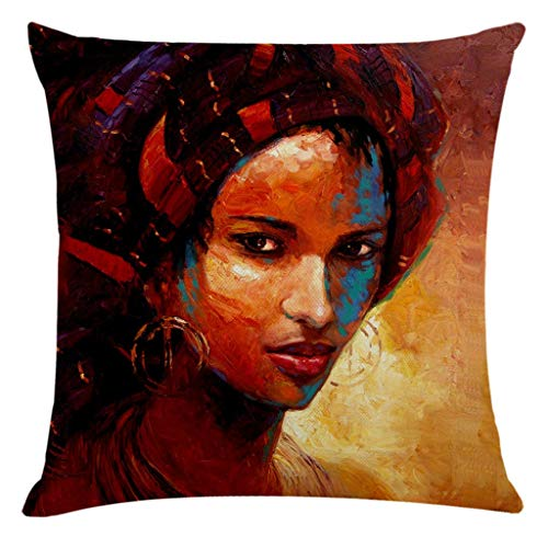 Janly Clearance Sale Pillowcase , Home Decor Cushion Cover African Women Pillowcase Throw Pillow Covers , Pillow Case for Easter Day (E)