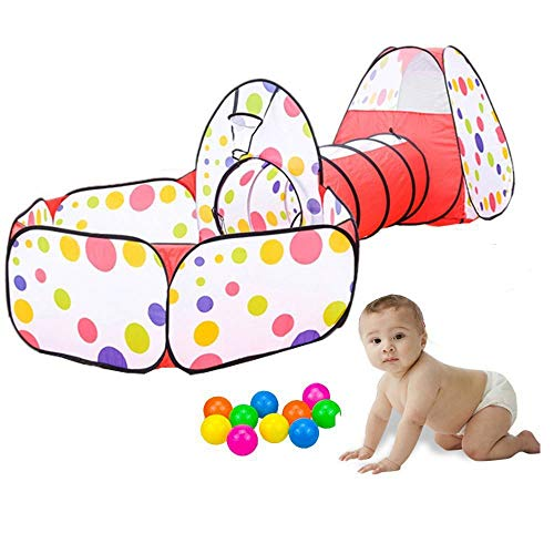 LUMAMU Kids Play Tunnel Tent with Ball Pit and Zippered Storage Bag, Children's Play Tents Playhouse for Baby Indoor Outdoor Playground