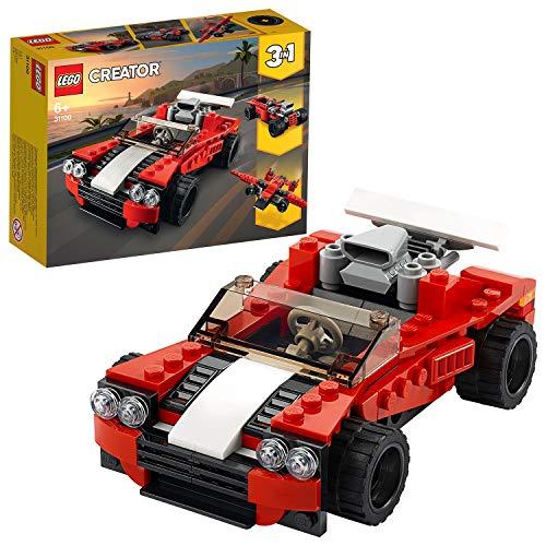LEGO 31100 Creator 3-in-1 Sportwagen-, Hot Rod-, Flieger-Bauset, Spielzeuge für Jungen und Mädchen ab 7 Jahren