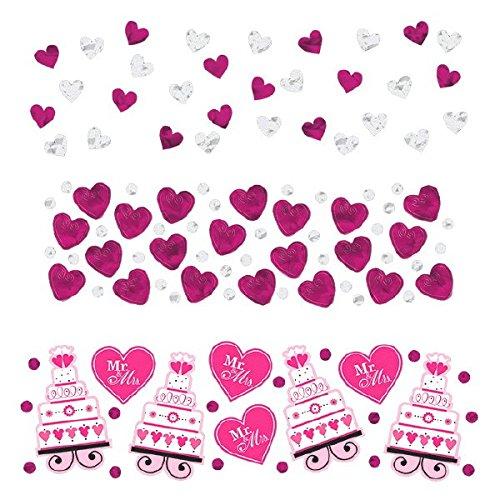 Bruiloftsconfetti (gedeeltelijk met tekst in het Engels), roze, 3 verpakkingen met verschillende motieven.