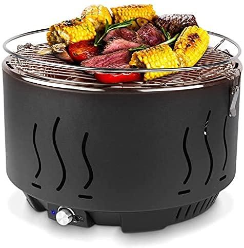 Barbecue a Carbonella, Barbecue a Carbone con Interfaccia Mirco e Ventilatore Incorporato , Portatile BBQ per Famiglia, Feste, Campeggio e Picnic, 35x35x25cm
