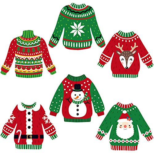 Ugly Sweater Party Decorations Ugly Christmas Cutouts Holiday Party Decor Ugly Sweater Shaped Paper DIY Cut-Outs