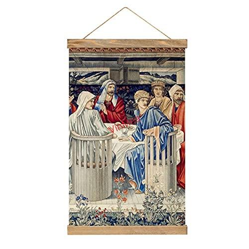 Lienzo colgante de pared Caballeros de la mesa redonda con percha de madera de teca para decoración de pared