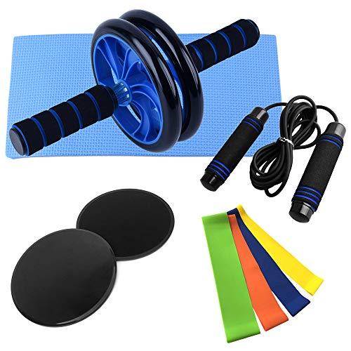 Lixada Widerstandsbänder, AB Roller Bauchtrainer, Springseil, Disc Core Slider und Knieschoner, 9-in-1 Fitness Geräte, für Heimfitness Trainingsset für Heimtraining Muskelkraft Fitness