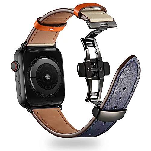Compatible con Apple Watch Band de 40 mm 38 mm para iWatch Bandas,compatible con iWatch Series 6/SE/5/4/3/2/1/(42 mm/44 mm, azul+blanco offwhite + cierre negro)