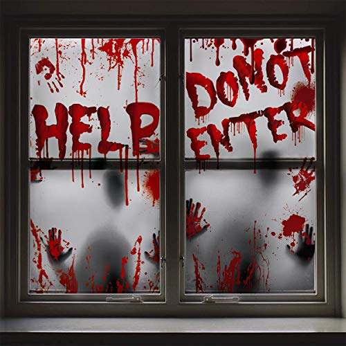 Giant Poster Halloween Decoration - 2PCS Bloody Window Posters, House Indoor Blood Handprint & Shadowy Horrible Holiday Supplies-Do Not Enter