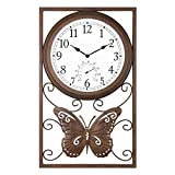 Bestime Two-in-one Metal Clock with Thermometer. Weatherproof Indoor/Outdoor. Weather Resistant. Fits Most décor Whether Industrial, Country, Rustic Farmhouse, Vintage Retro, etc.