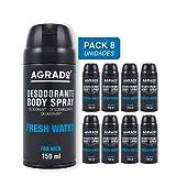 Desodorante Spray Fresh Water Hombre Agrado 150 ml - Pack de 8...