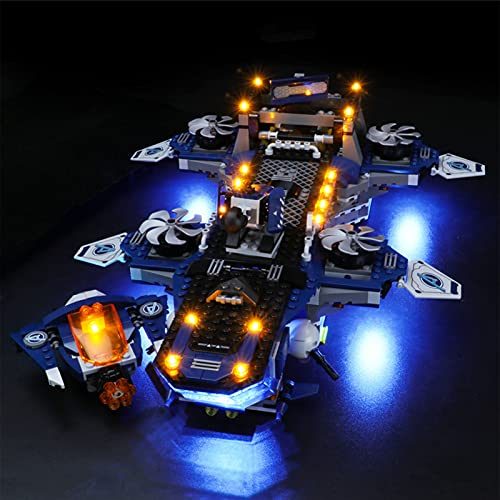 icuanuty Kit de Iluminación LED para Lego 76153, Kit de Luces Compatible con Lego Marvel Super Heroes Helitransporte de los Vengadores - 76153 (No Incluye Modelo Lego)