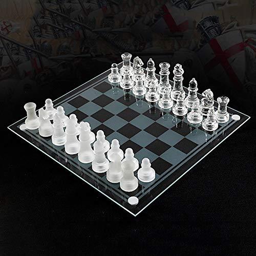 Icbly Conjunto de ajedrez de Cristal Tradicional con la Tarjeta de Cristal Transparente y Esmerilado y Cristal Claro de Piezas de ajedrez, Juguetes educativos Tradicional táctica Estrategia Regalo de