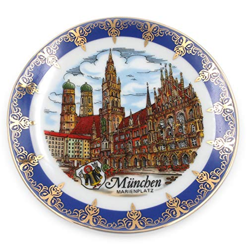 Müller Porzellan Wand-Teller München Marienplatz Bayern, blau Gold, 13cm, Sammelteller Deko-Teller Wand-Bild Wanddeko Wand-Kunst