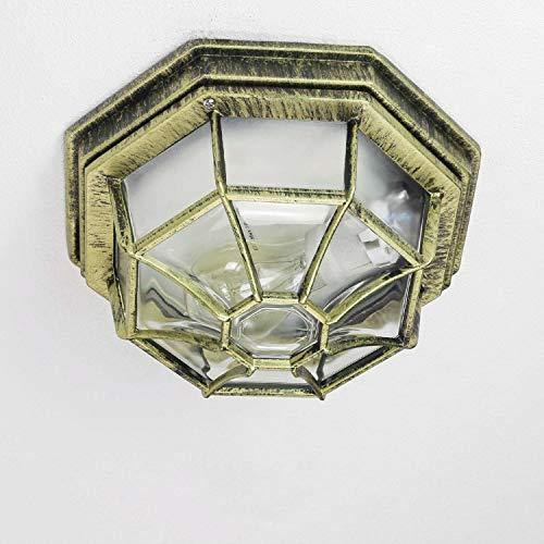 Rustieke buitenplafondlamp buitenlamp in antiek goud E27 tot 100W IP54 voor tuin erf buitenverlichting plafondlamp verlichting