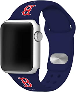GAME TIME Boston Red Sox Silicone Sport Band Compatible with Apple Watch 42mm/44mm Navy Blue