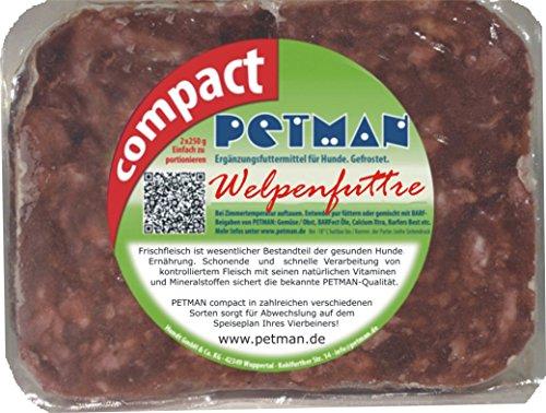 petman compact Welpenfutter, 12 x 500g-Beutel, Tiefkühlfutter, gesunde, natürliche Ernährung für Hunde, Hundefutter, Barf, B.A.R.F.