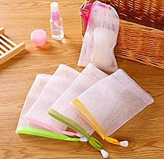AKOAK 10 PCS Exfoliating Mesh Soap Pouch Bubble Foam Net Soap Sack Saver Pouch Drawstring Holder Bags (Color Random)