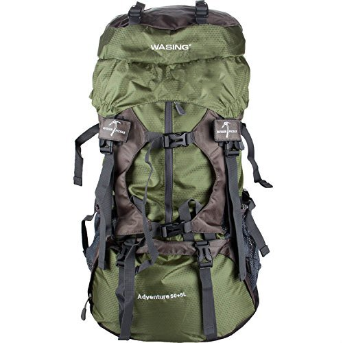 WASING 55L Internal Frame Backpack Hiking Backpacking Packs for Outdoor Travel Climbing Camping Mountaineering with Rain Cover - Green