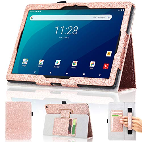 DMLuna Case for Onn 10.1 Tablet Pro (Model:100003562) ONLY, Folio Premium Leather Stand Case with Hand Strap/Card Holder (NOT FIT ONN 10.1 Tablet Model: 100011886 / ONA19TB003), Glitter Rose Gold