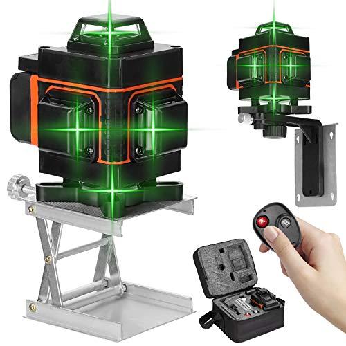 KKmoon Livella las-er Autolivellamento 25M,4 X 360° Las-er a Croce Autolivellante Raggio Verde 4D 16 Linee,Misuratore a Infrarossi Orizzontale e Verticale 360° Rotante,Telecomando,Base,USB Ricarica