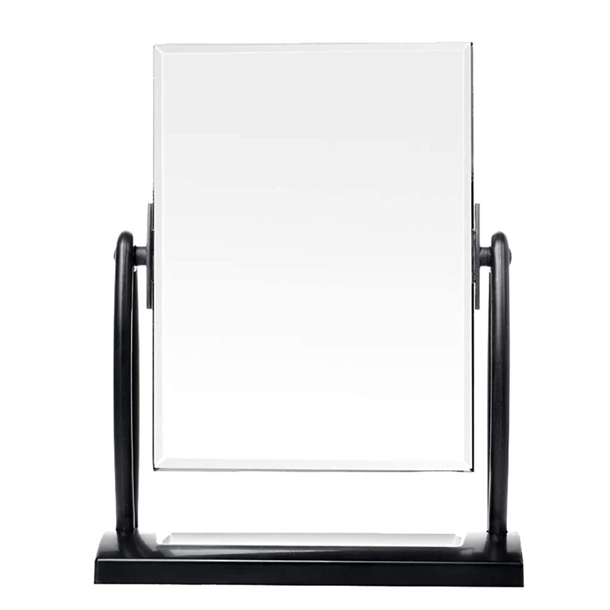 信じる若さ覗くレトロな片面化粧鏡金属ブラケットデスクトップ自立バニティミラー360度;ベッドルームバスルームドレッシングルームブラックの無料回転