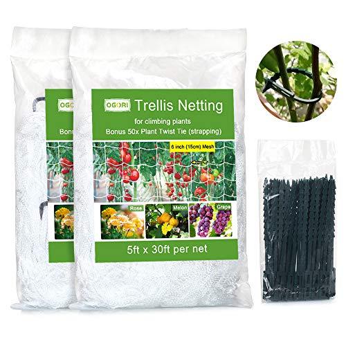 OGORI 5 x 30ft HeavyDuty Plant Trellis Netting 2 Pack TangleFree Trellis for Climbing Plants