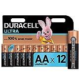 Duracell Ultra AA con Powercheck Batterie Stilo Alcaline, confenzione da 12 Pacco del Produttore, 1.5 Volt LR06 MX1500, Nero