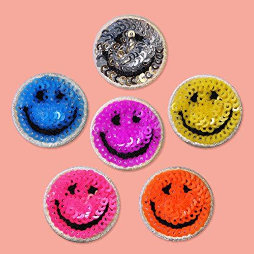 Patch Sticker,Parche termoadhesivo,Aplique de bordado adecuado para sombreros, chaquetas, abrigos, camisetas, emoji de lentejuelas 6 piezas