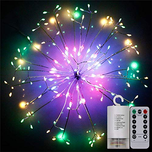 200 LED Fireworks Lights, Vegena LED Fairy String Led Copper Wire Starburst String Lights with Remote Control 8 Modes Battery Powered for Garden,Christmas Tree,Party,Indoor,Outdoor Multicolor