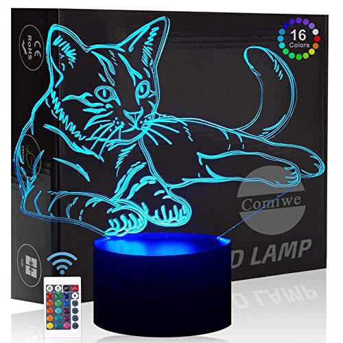 Comiwe Katze 3D Illusion Nachtlicht Spielzeug,Dekoration LED Nachttischlampe 16 Farben Ändern mit Fernbedienung,Weihnachten Deko Lampe Geburtstagsgeschenk Für Mädchen Jungen Kinder und Freunde