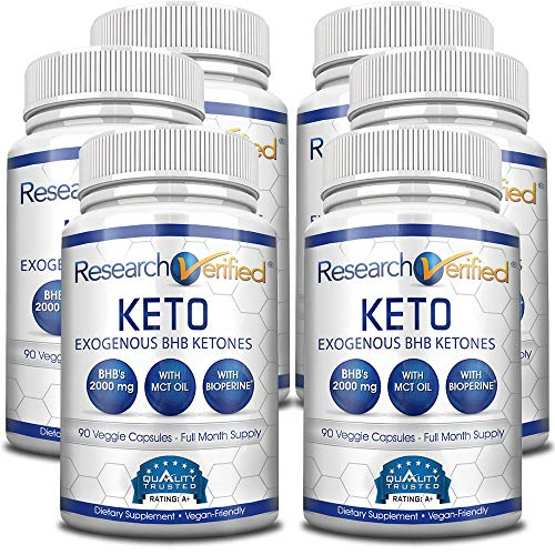 Research Verified Keto - Vegan Keto Supplement with 4 Exogenous Ketone Salts (Calcium, Sodium, Magnesium and Potassium) and MCT Oil to Boost Energy, Weight Loss and Focus in Ketosis - 6 Bottles 1