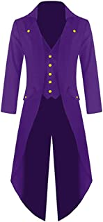 Mens Halloween Steampunk Gothic Jacket Victorian Tailcoat Vintage Costume Tuxedo Coat Uniform
